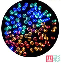 Led-lichtsnoer, gordijn, ramen, tuin, buiten, sprookjes, lichtsnoer, lichtsnoer, solar-lichtketting, decoratie voor tuinlantaarns, Kerstmis, vier kleuren, 12 meter, 100 lampen