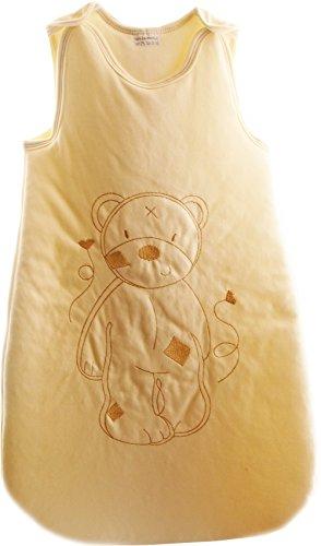 Baby slaapzak rits babyslaapzak zonder mouwen borduurwerk beer (73cm, crème)
