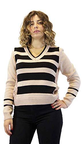 Twinset dames T-shirt met zwarte strepen en kant. Nieuwe collectie A/I 2020/21 202ST3051, maat EU IT - zwart - M