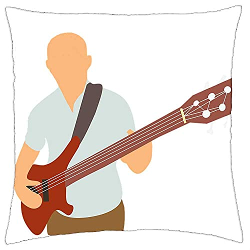 Throw Pillow Cover Bass Club Anciano Guitarra eléctrica Hombre Música