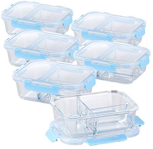 Rosenstein & Söhne Mikrowellengeschirr: 6er-Set Glas-Frischhaltedosen mit Klick-Deckeln & 3 Kammern, 1 l (Glas-Dosen)