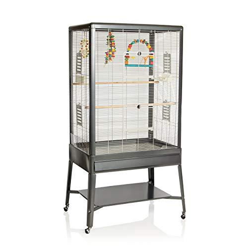 Montana Cages ® | Voliere ca. 85 x 58 x 166 cm Käfig, Vogelvoliere Colorado II - antik/Platinum