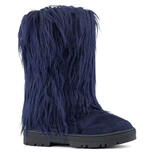 RF ROOM OF FASHION Women's Vegan Faux Long Fur Mid Calf Slip On Round Toe Lug Sole Eskimo Winter Boots TAN (8)
