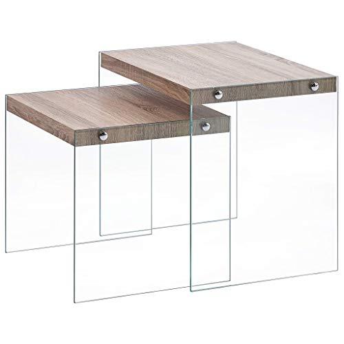 Cikonielf - Juego de 2 mesas de madera de roble brillante, mesa auxiliar de té con patas de cristal templado para sala de estar, espacio pequeño 49,5 x 39 x 48 cm + 41,5 x 39 x 40 cm