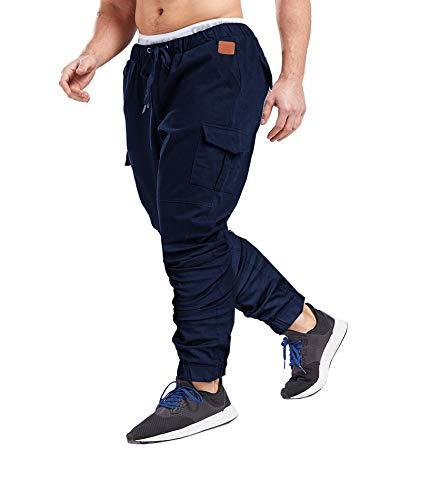SOMTHRON Herren Elastische Taille Gürtel Baumwolle Jogging Sweat Hosen Plus Size Mode Lange Sports Cargo Hosen Shorts mit Taschen Joggers Activewear Hosen, Dark Blue, M