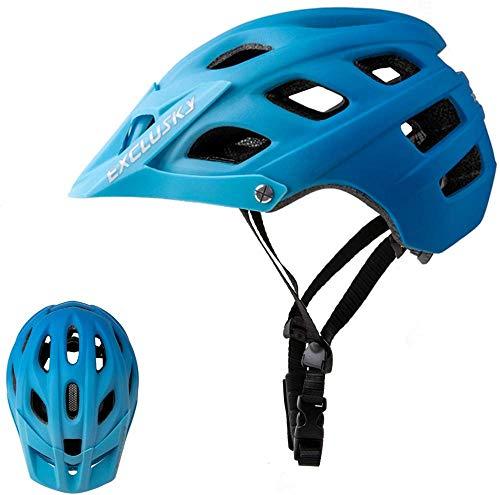 Casco de Bicicleta de montaña, Easy Visor Adjunto Protección de Seguridad Cómodo Ligero Ciclismo Montaña y Carretera Cascos de Bicicletas para Hombres Adultos Mujeres-Gradient Blue 🔥
