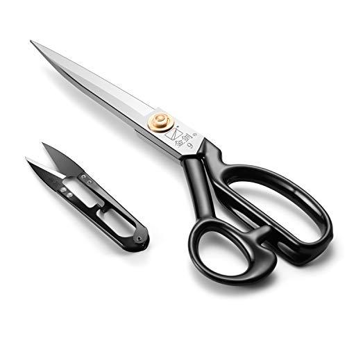 Tijeras de costura de 24 cm (24 cm) – Tijeras de costura de tela con cuchillas afiladas y mango de agarre suave para cortar tejidos, cuero, material, ropa, alteración, sastrería (blanco)