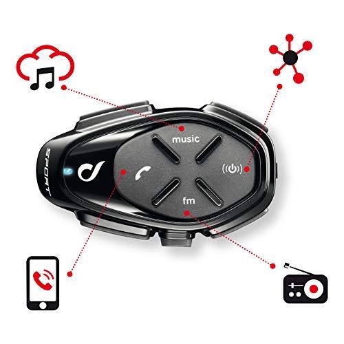 INTERPHONE CellularLine SPORT - Interfono Bluetooth da casco per comunicazione in moto, Fino a 4 motociclisti, Distanza 1Km, Autonomia 20 ore, Radio , MP3, GPS, Impermeabile, Universale - Doppio.