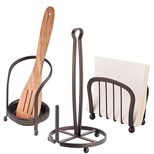 mDesign Kitchen Counter Accessory Set, Spoon Rest, Paper Towel Stand, Napkin Holder - Set of 3, Bronze