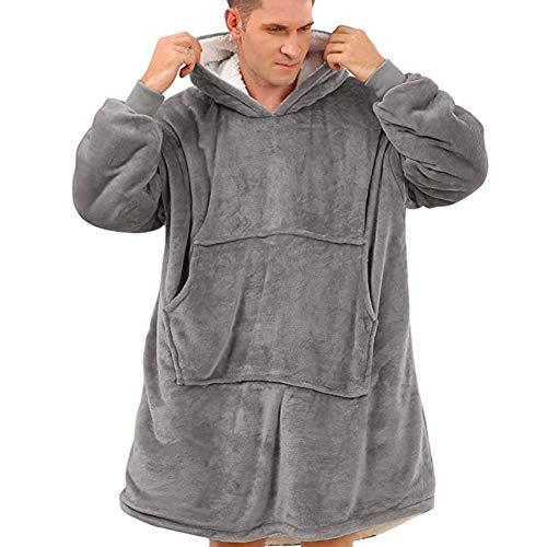Sudadera con capucha para hombre y mujer, suave, cálida, muy suave y cómoda, adecuada para adultos, hombres, mujeres, adolescentes gris pálido Talla única