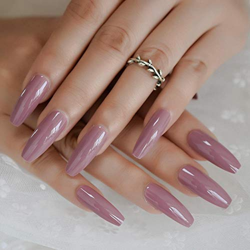 CLOAAE Pressed Dark Purple Pink Color On False Nails Extra Long Coffin Ballerina Flat Shape Press On Fingers Snail Free Adhesive Tapes