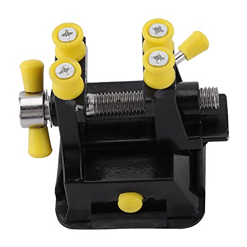 Changor Mini tornillo de banco, ranura moldeada 78 x 63 x 63 mm, mini taladro plano y liso de aleación de aluminio y plástico