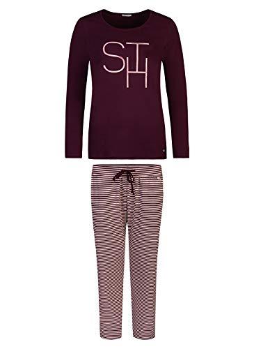 Short Stories Damen Pyjama Long Zweiteiliger Schlafanzug, Violett (Grape Wine 6238.0), 42 (Herstellergröße: L)