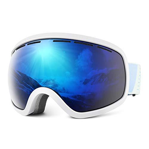 Skibrille Damen und Herren Snowboardbrille OTG Anti Beschlag Schneebrille UV Schutz Verspiegelt Doppel Linse Sportbrille Schutzbrille Wintersport Skifahren Ski Brille Skilanglauf Windbrille Skibrillen