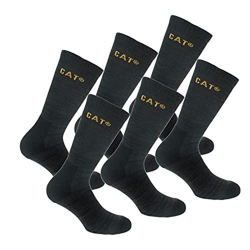 Caterpillar Boot Socks 6 Paar Stretch-Baumwollsocken, verstärkte Zehen & Fersen, geeignet für Stiefel (Schwarz, 39-42)