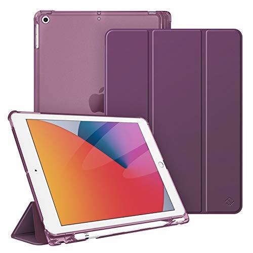 Fintie Hülle für iPad 8. Generation (2020) / 7. Gen (2019) 10.2 Zoll mit Pencil Halter, Superdünn Leichte Schutzhülle mit durchsichtiger Rückseite Abdeckung mit Auto Schlaf/Weck, Lila