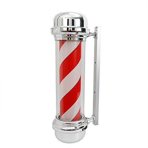 Cartel luminoso giratorio de Barbier Shop de 28 pulgadas, poste de Barberer, con luz LED giratoria, vintage, aplique de pared, rayas, blancas y rojas, para salón de peluquería, tienda de 80 cm