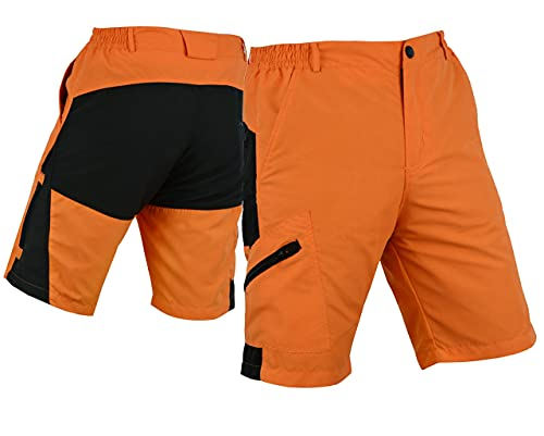SelectCyclingWear Pro Comfort MTB Mountain Bike Baggy Shorts with Lycra Coolmax Padded Liner (Orange/Black, X-Large(34'-36'))