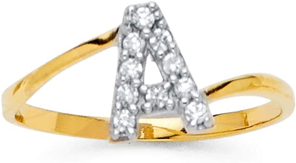 Sonia Jewels 14k Yellow Gold Cubic Zirconia CZ Initial Letter Fashion Anniversary Ring