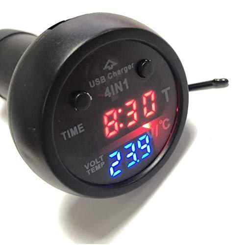 4in 1 Auto Zigarettenanzünder Multifunktionsdisplay Elektronische Uhr Thermometer Voltage Meter Voltmeter