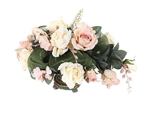 Closer To Nature 30 Centimetri Rosa Tavolo Display in Teal e Oro Mini Vaso in Ceramica - Pale Rosa e Bianco