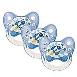 Dentistar® Latex Schnuller 3er Set - Nuckel Größe 1-0-6 Monate - Naturkautschuk Beruhigungssauger für Babys und Kleinkinder - zahnfreundlich - Made in Germany - BPS frei - Rakete, blau