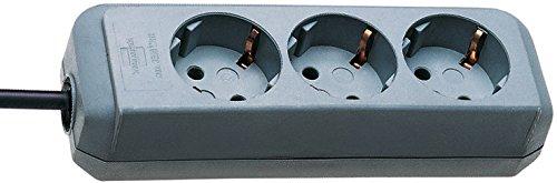 Brennenstuhl Eco-Line, Steckdosenleiste 3-fach (Steckerleiste mit erhöhtem Berührungsschutz und 1,5m Kabel) silbergrau