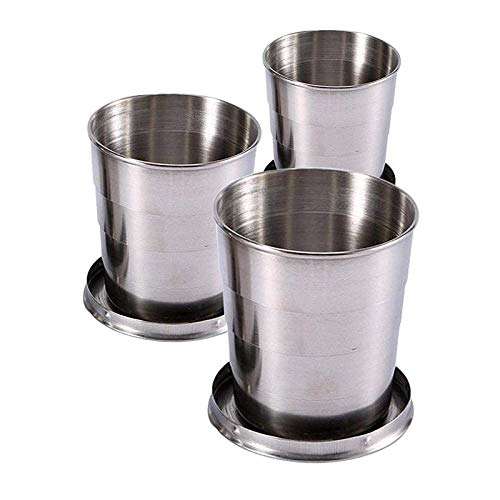 3PCS Collapsible Travel Cups For Dishes & Utensils , Stainless Steel Folding Camping Cup With Lids - 2.5 oz , 4.7 oz , 8.2 oz , Expandable Portable Reusable Drinking Mug For Survival , Hiking , Picnic