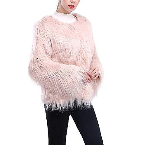 Zoayeps Dames lange mouwen Cardigan Open Front Fake Fur Cold Weather Outwear Coat