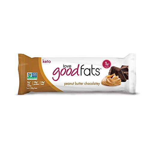 Love Good Fats Bars – Peanut Butter Chocolatey – Keto-Friendly Protein Bar with Natural Ingredients – Low Sugar, Low Carb, Non GMO, Gluten & Soy Free Snacks for Ketogenic Diets – (12 Count)
