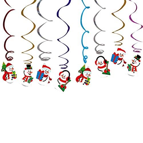 Muñeco de nieve navideño Colgante en forma de remolino Colgante de techo Serpentinas espirales coloridas Colgante Tarjeta de muñeco de nieve Colgante Remolinos Decoraciones para fiestas de Navida