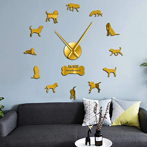 PYIQPL DIY 3D Wanduhr rameless Big Wanduhr Welpen Hund Dekor Bloodhound Hunderasse Home Decor Wandkunst Uhr Uhr Saint Hubert Hound Silent Quartz wanduhr Wohnzimmer Gold (47inch)