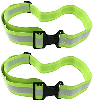 High Visibility Reflective Belt, Army PT Belt. Reflective Running Gear for Men and Women for Night Running Cycling Walking. Military Safety Reflector Strips (2 x Green Belt)