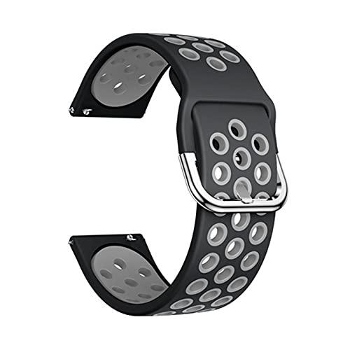 YNLRY Silicone Original Sport Watch Band para Samsung Galaxy 42mm / Activo/Activo 2 Smart Watch Correa Strap Pulsera De Reemplazo 20mm Correa (Color : Dark Grey, Size : 20mm)