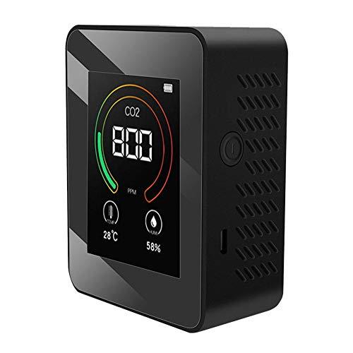 IUwnHceE 3 en 1 Cubierta de CO2 del Aire del Monitor, Cubierta ppm Calidad del Aire Dióxido de Carbono/Humedad/Temperatura Grados C F Medidor Probador Detector / (Negro)