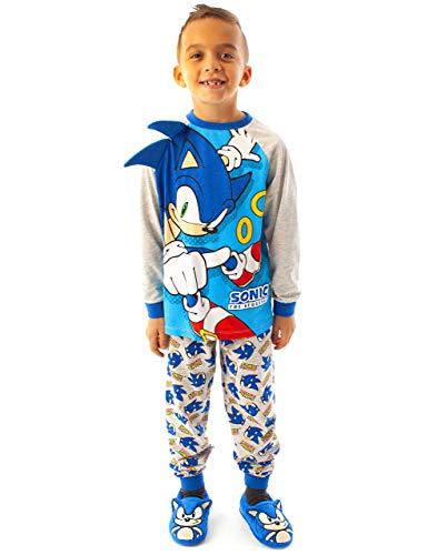 Sonic The Hedgehog Pyjamas Boys Kids Character Costume Blue Pjs 7-8 Anni