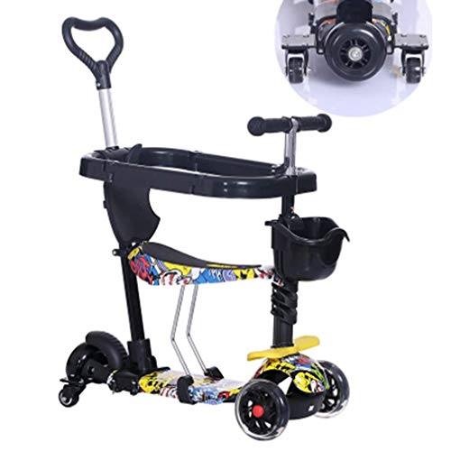 Amazing Deal PDGJG Scooter Kids 5 in1 PU 3 Wheels Flashing Swing Car Lifting 2-15 Years Old Stroller...