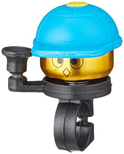 Prophete Unisex Jugend Kinderrad-Glocke golden mit bunter Kappe, Farbe: blau Fahrradglocke, One Size