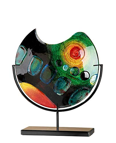 GILDE GLAS art Design-Vase - Dekoobjekt handgefertigt aus Glas H 37 cm