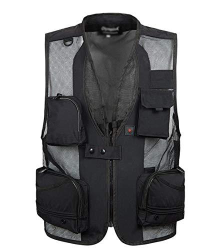 BLHZPD heren visvest met meerdere zakken fotografie vest voor werk reizen avontuur outdoor activiteiten Medium 6