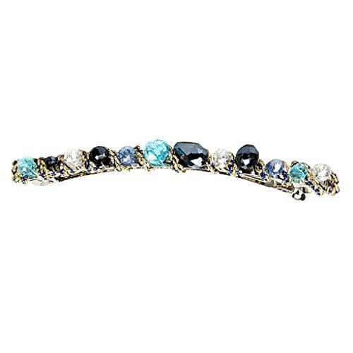 Damen Haarspange Barrette Haarschmuck mit Kristall Straß Verschönerung - Blau