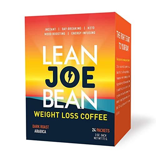 Lean Joe Bean Instant Keto Coffee | Slimming & Detox Dark Roast Arabica Blend | Metabolism Boosting & Diet-Friendly - Paleo, Vegan, Gluten Free | Clinically Proven Effective | 24 Pack
