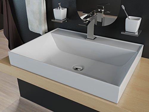 Design Mineralguss Waschbecken Waschtisch Aufsatzwaschbecken Einbauwaschbecken 60cm KB-M60