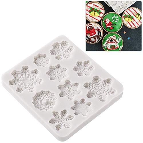 BESTOMZ 10 Cavity Backformen für Weihnachten Schneeflocke Silikonformen Form Kuchenform Tablett für DIY Desserts
