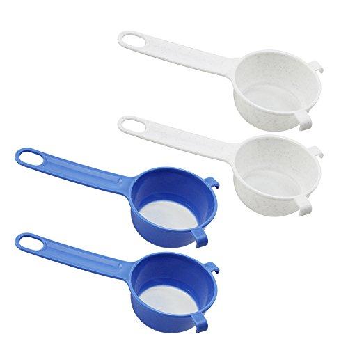 COM-FOUR® 4x Tamis de cuisine en plastique - Tamis à sucre en poudre - Tamis à maille fine pour la cuisson - Mini tamis pour thé, café, cacao (4 pièces - bleu/blanc)