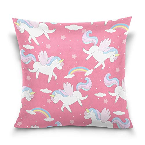 TGSCBN Throw Pillow Case Decorative Cushion Cover Square Pillowcase, Pink Unicorn Polka Dot Rainbow Star Cloud Sofa Bed Pillow Case Cover