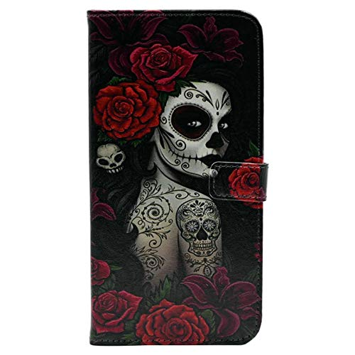 TPACC Galaxy A11 Case - Slim Wallet Card Flip Leather Pouch Case Stand Protector Cover for Samsung Galaxy A11 Phone, Sugar Skull Girl