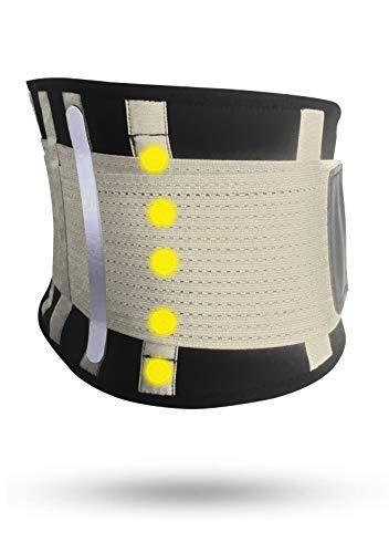 Fascia Lombare Supporto Schiena Tech Therapeutics - Cintura Lombare di Sostegno Fascia Schiena Elastica Addominale Uomo Donna Con Flessibili Stecche e Terapia Magnetica Taglia (L - XL)