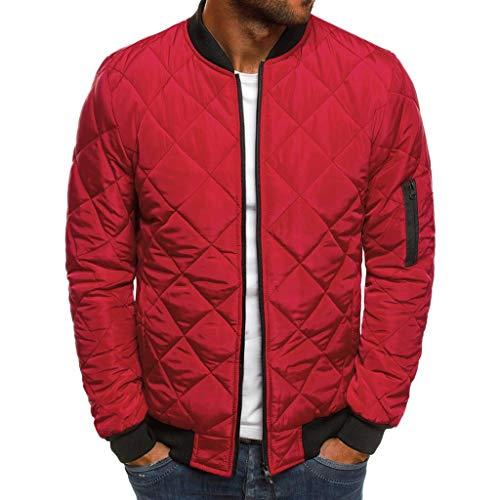 MAYOGO Jacke Herren Leichte Steppjacke Winterjacke Wattierte Jacke Puffer Jacke Winter Jacke (rot, XL)