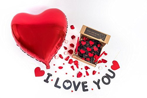 Pack ROMÁNTICO I Love You(100 Pétalos Rosa Preservados+1 Guirnalda I Love You+1 Globo Corazón Gigante+6 Corazones Fieltro+ 4 Love+20 Mini Corazones Rojos+2 Candelabros Cristal+2 Velas Largas Rojas)